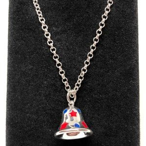 Jewelry - Red & Blue Decorated Silver Bell Pendant Necklace
